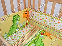 Защита бортик в детскую кроватку для новорожденных (дино оранжевый)