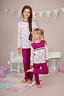 Пижама для девочки длинный рукав р.116-128, 100% хлопок, ELLEN