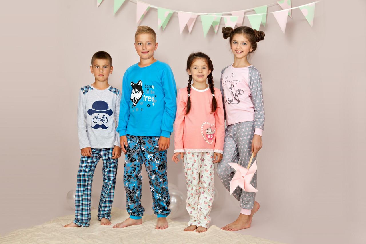 """Пижама для девочки длинный рукав """"Котик"""" р.146 -158, 100% хлопок, ELLEN"""