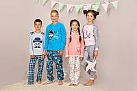 """Пижама для девочки длинный рукав """"Котик"""" р.122 -140, 100% хлопок, ELLEN"""
