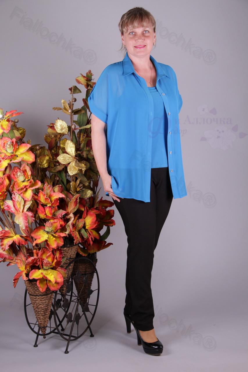 Блуза 2901-459/3 шифон больших размеров оптом