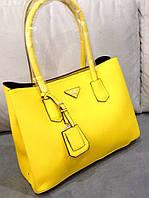 Сумка Prada желтая, женская сумка прада из эко кожи