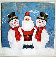 Салфетка для декупажа Снеговики&Дед мороз 33*33 см, 1 шт