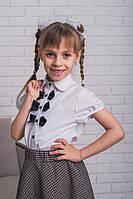 Блузка для девочки школьная с бантиками