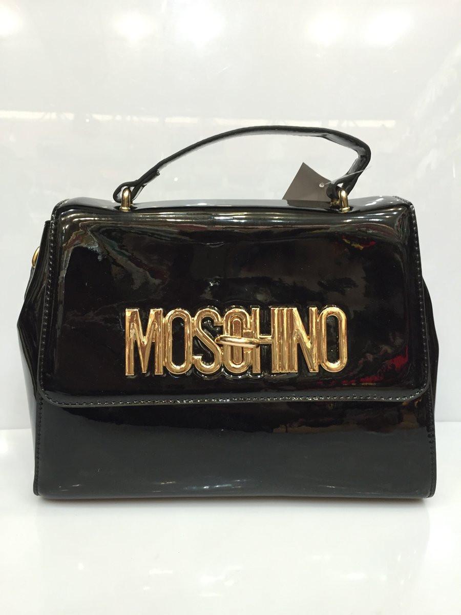 01c4a5071dbc Женская сумка Moschino 1240 лаковая черная копия недорого. Цена со ...