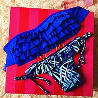 Женский яркий синий купальник с узорами, фото 1