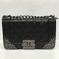 Женская сумка клатч Chanel Boy (Шанель Бой) 1231  мини стеганая черная