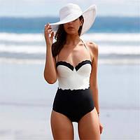 Женский стильный сдельный черно-белый купальник, фото 1