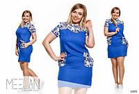Платье мини с накладными карманами цветочный принт 27 Батал! (БН)