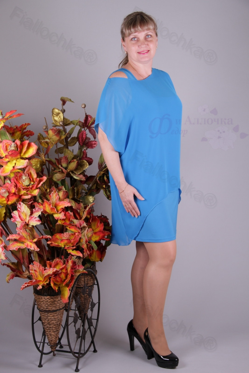Блуза 2901-439/3 шифон больших размеров оптом