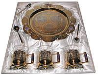 Чайный подарочный набор на троих с полудрагоценными камнями. Подарок руководителю на юбилей., фото 1
