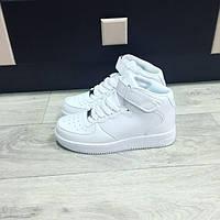 Женские белые высокие кроссовки Nike Air Force, фото 1