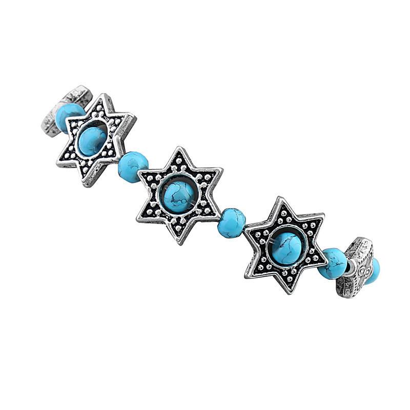 Модный браслет на руку с камнями бирюза