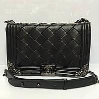 Женская сумка клатч Chanel Boy (Шанель Бой) 1234  большая  плетеная черного цвета