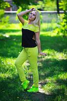 Женский спортивный костюм комбинированный из турецкого трикотажа с коротким рукавом в расцветках