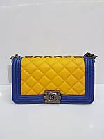 Женская сумка клатч Chanel Boy (Шанель Бой) 1613 стеганая желтая с синим