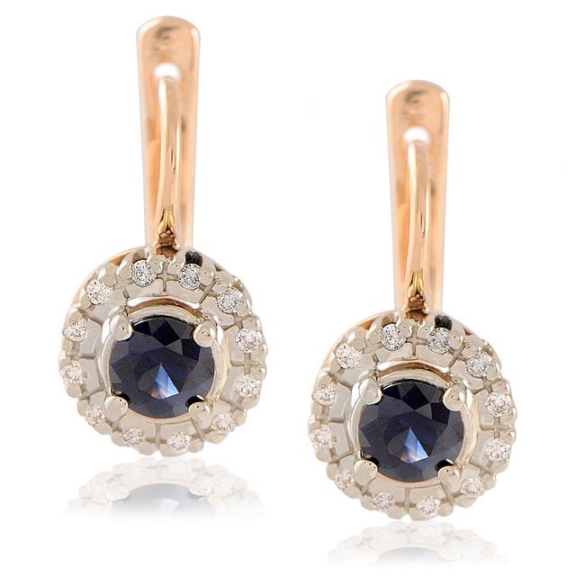 Серьги золотые бриллианты и сапфиры