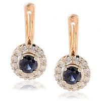 Серьги золотые бриллианты и сапфиры, фото 1
