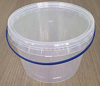 Пластиковое ведро 2,3л. круглое, прозрачное, герметичное, с контрольной пломбой, ручкой и крышкой