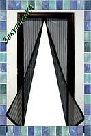 Москитная сетка 100х210 см на магнитах Magic Mesh Раздвижная, Черная