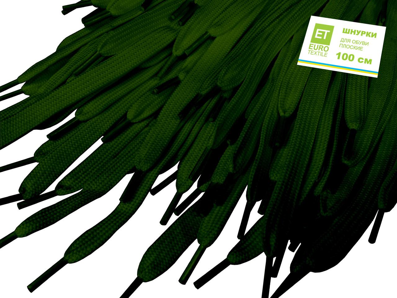 Шнурки для обуви (100см) плоские, зеленые