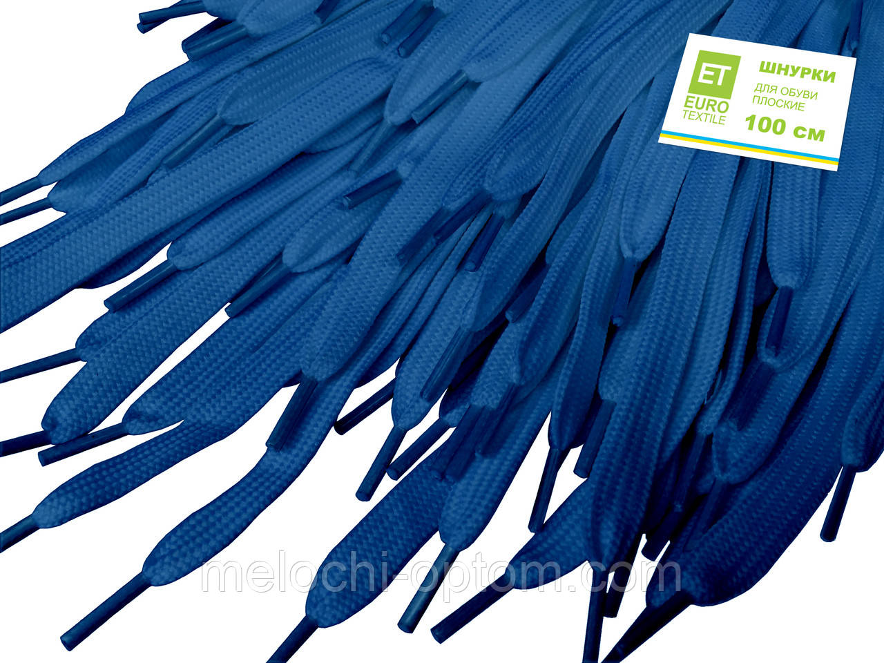 Шнурки для обуви (100см) плоские, светло-синие