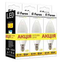 Комплект 3шт: Led лампа Feron 5W Е14 С37 LB-97 теплый свет