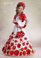 Детское Белое платье в маках,пышная юбка а так же атласное красное болеро