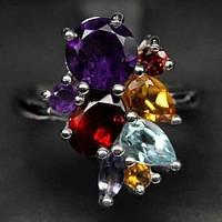 Кольцо с натуральными камнями - Гранат, Аметист, Цитрин, Топаз, Иолит