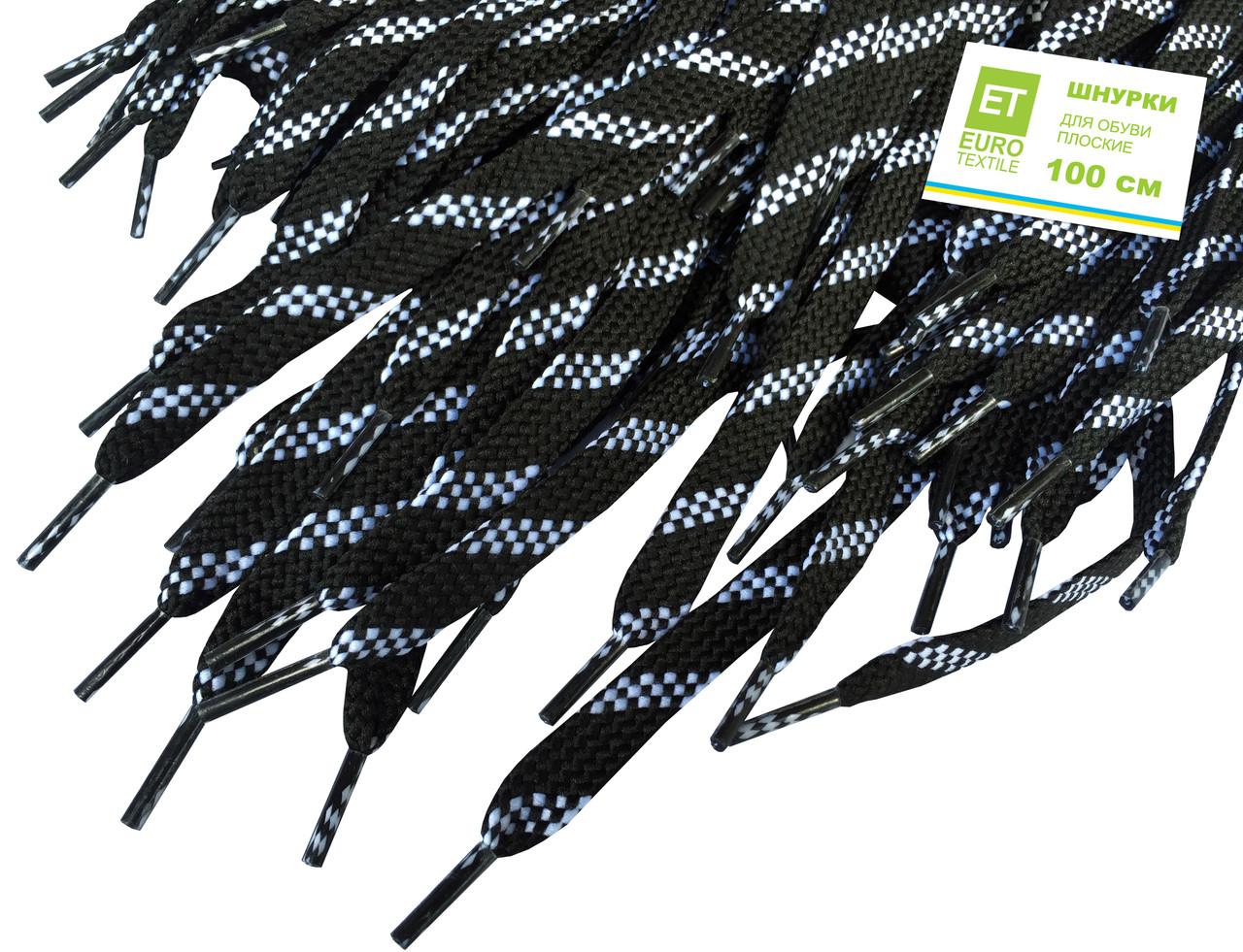 Шнурки для обуви (100см) плоские, цвет: пестрый-черный