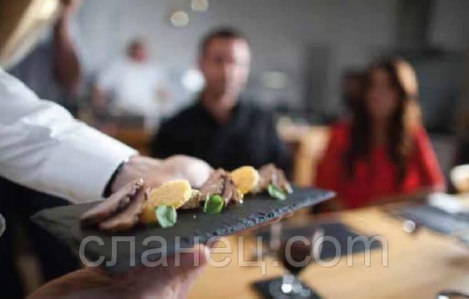 Блюдо для подачи 19,5 см; квадрат., натур., сланец