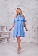 Стильное платье-рубаха с открытыми плечами и широким волвном