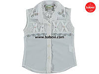 Нарядная белая шифоновая блузка рубашка детская на девочку 10, 12 лет.Турция!Детская летняя одежда