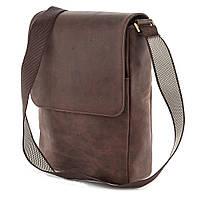 Большая мужская сумка почтальонка из натуральной кожи винтажного цвета SHVIGEL 00751