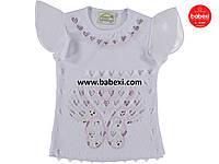Нарядная белая шифоновая блузка футболка детская на девочку 6, 7, 8 лет.Турция!Детская летняя одежда