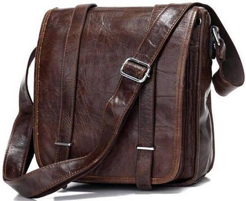 Качественная мужская сумка через плечо из натуральной кожи S.J.D. 7109C, темно-коричневая