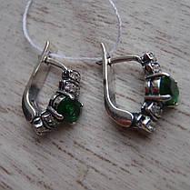 Срібні сережки зі вставками з кольорових фіанітів, 22 каменю, фото 3