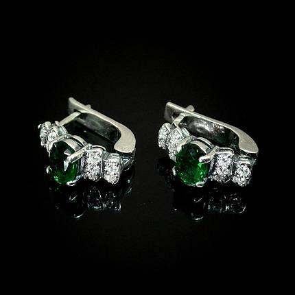 Срібні сережки зі вставками з кольорових фіанітів, 22 каменю, фото 2