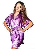 Атласный женский халатик кимоно. Красивые атласные халаты на запах с поясом. Ассортимент цветов и размеров., фото 1