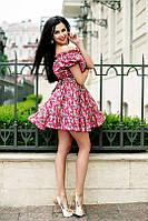 Цветочное платье с открытыми плечами и рукавом-фонариком
