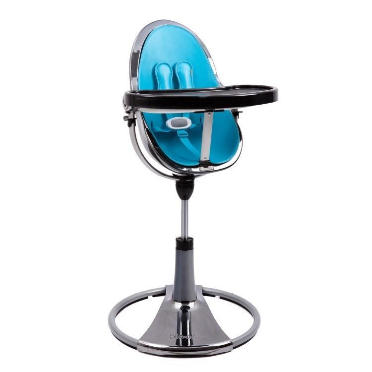 "Cтульчик для кормления «Bloom» ""Fresco"" цвет ""Chrome Mercury"", вкладыши ""Bermuda Blue"" (E10516-BBL-1"