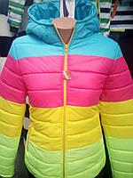 """Куртка демисезонная """"Цветная полоска"""" - голубой верх"""