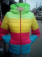 """Куртка демисезонная """"Цветная полоска"""" - салатовый верх"""