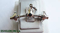 Подвеска серебряная Штанга Бодибилдер, фото 1