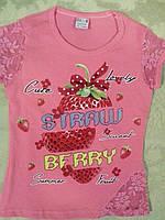 Коралловая футболка с клубничкой