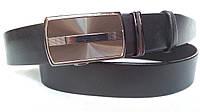 Кожаный ремень автомат 40 мм чёрный гладкий с лазерной пряжкой цвета кофе с чернёной окантовкой по краям