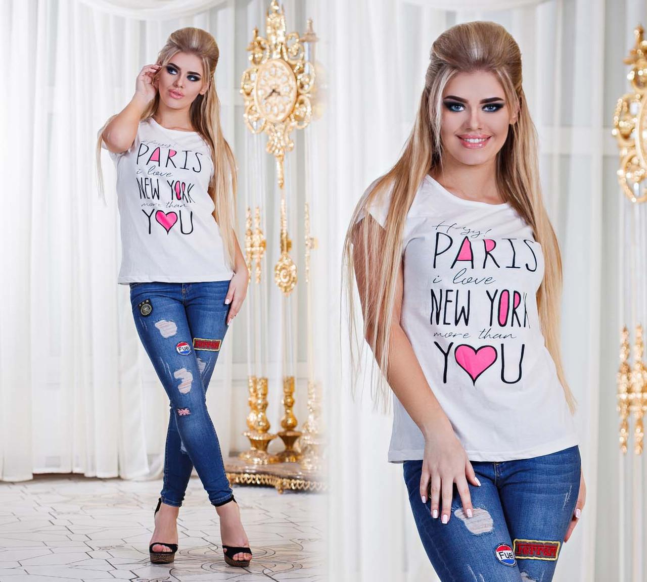 """Летняя свободная женская футболка 2903 """"PARIS - NEW YORK"""" в расцветках"""