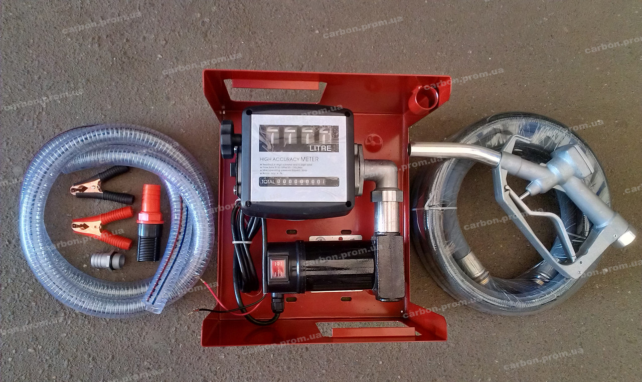 Топливоперекачивающий насос помповый с счётчиком и пистолетом DK8020 24В Дорожная карта