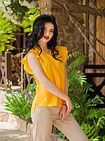Нарядная женская летняя блуза горчичного цвета
