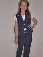 """Школьный костюм тройка жилетка для девочки """"Стиляшка"""" синий, р-ры 28-38"""
